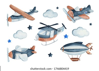 Watercolor set illustration of a cute and adorable air craft complete with airplanes, helicopter and zeppelin