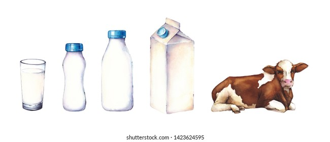 Watercolor set illustration. Glass of milk, bottle, yogurt, cardboard packaging and cow on a white background
