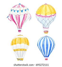 Watercolor set of illustrations balloon. aerostat