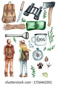 watercolor set illustrations camping. hand drawing. postcards printing, invitations