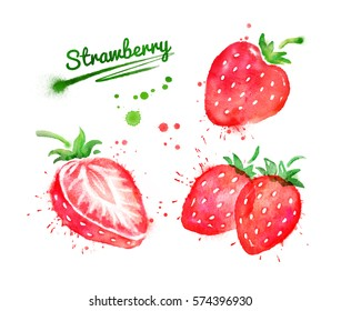 Watercolor set of illustrations of strawberry, whole and half, with paint smudges and splashes.