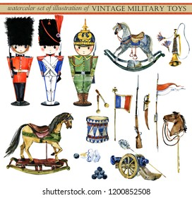 watercolor set of illustrations of vintage military toys