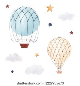Watercolor set of isolated children's illustrations, balloon, starry sky and clouds. Children's birthday