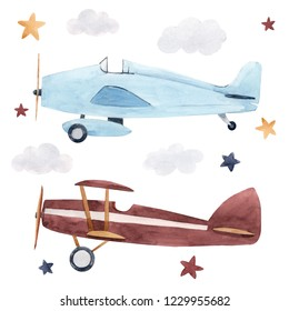 Watercolor set of isolated children's illustrations, airplanes, starry sky and clouds. Children's birthday