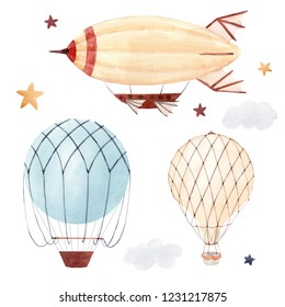Watercolor set of isolated children's illustrations, balloon, starry sky and clouds. Children's birthday. airship