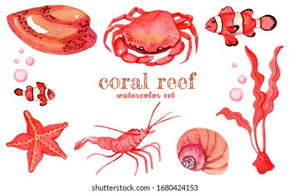 Watercolor set of isolated marine inhabitants. Perfect for logo, wallpaper, postcard, poster, sticker, design.