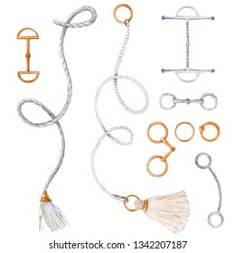 Watercolor set of isolated objects, cord rope, golden elements. ring.