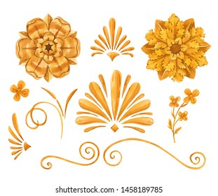 Watercolor set of isolated objects, golden elements in baroque, rococo style. gold flowers