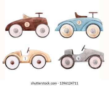 Watercolor set of isolated objects, retro racing cars, cute children illustration