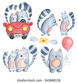 Watercolor set with love couple cats in just married red car, with flower and red balloon. Hand-drawn cartoon illustration for greeting cards, invitations, Valentine`s cards