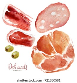 Watercolor set of meat delicacies and olives