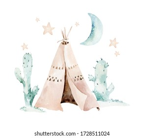 Watercolor set with mexican ethnic elements: cactus ,teepee, traditional wigwam, Boho party invitation. Baby boy baby shower. Wild west