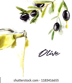 Watercolor set of olive branches with olives and olive oil on white background. Hand drawn watercolor illustration with splashes