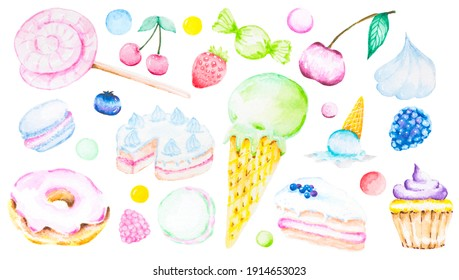 Watercolor set in pastel colours with sweets: donuts, cupcakes, cakes, lollipops, ice cream, candies, berries.  Pictures isolated on white background.