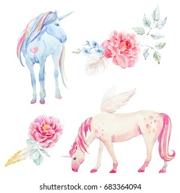 Watercolor set of pegasus and unicorn, pink peony flowers