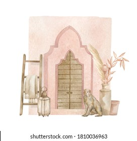 Watercolor set with pink arch, pots, monkey. Moroccan composition with urban elements, dried leaves, lantern and stairs. Aesthetic North African architecture. Vintage poster