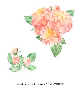 Watercolor set with pink coral dahlia flowers and bouquets. COuld be used for autumn greetings, invites, wedding, web design, hime and textile floral decor