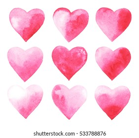 watercolor set of pink hearts on white background