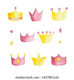 Watercolor set with pink and yellow crowns on white background. Ideal for cards and invitations.