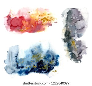 Watercolor set with red, blue and grey splash and gold glitter on white background. The color splashing in the paper. Hand drawn watercolor texture. Illustration for design, print or background.