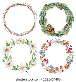 Watercolor set of round Christmas wreaths, wreath of twigs, of fir branches and cones, wreath with berries, round frame with flowers hellebore.
