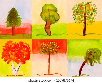 Watercolor set of six different bright trees on different backgrounds in jpeg