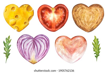 Watercolor set of sliced food hearts isolated on white background. Hand drawn illustration of heart shaped sandwich parts: cheese, tomato, onion, toast, rukkola, ham. Love theme for Valentines day