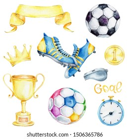 "Watercolor set with soccer elements - ball, winner cup, gold medal the number one, shoes, letters ""goal"", timer, crown, ribbon, whistle; children hand draw illustration; with white isolated background"