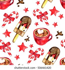 Watercolor set of sweets for holiday - Christmas seamless pattern.