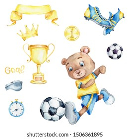 "Watercolor set with teddy bear kicks the ball and soccer elements (winner cup, gold medal the number one, soccer shoes, letters ""goal""); children hand draw illustration; with white isolated background"