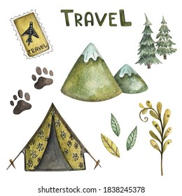 Watercolor set travel, hike, camping. Hand painted watercolor in green tones. Illustrations isolated on white background. Design for prints, posters, postcards, fabrics, clothing.