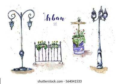 Watercolor set with urban details. Illustration with street lights and flower pots.