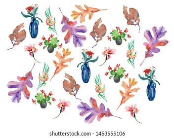 watercolor set of vases, flowers and leaves isolated on white background.  seasonal pattern