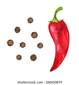 Watercolor set vegetable red hot chili pepper and spice black pepper seeds, peppercorn closeup isolated on a white background. Hand painting on paper