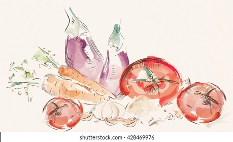 Watercolor Set of Vegetables. Tomatoes, Mushrooms, Carrot, Garlic and Eggplant