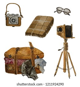 Watercolor  set of vintage staff such as travel suitecase, old glasses, camera, camera tripod and brown plaid