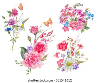 Watercolor set of vintage summer bouquet of garden flowers, wildflowers, butterflies, roses. Daisies, clover, meadow herbal. botanical nature collection isolated on white background.