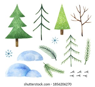 Watercolor set of winter elements on white background. Stylized fir trees, snowdrifts, fir branches, snowflakes, cute bird tracks. Christmas clipart illustration. Perfect for cards, patterns, decor