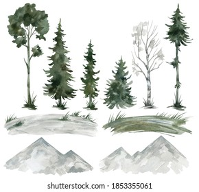 Watercolor set with winter landscape elements. Trees, mountains, fields, snow. Pine, spruce, birch, needles, hills. Forest elements for landscape creator