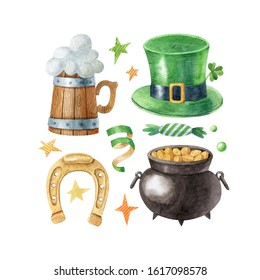 Watercolor set with wooden beer mug, horseshoe, leprechaun pot, green hat, candy and confetti. Happy Saint Patrick's Day traditional elements. Hand drawn clipart isolated on white background.