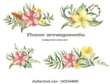 Watercolor set of wreaths and compositions with tropical flowers and plants. Beautiful bouquets for cards, invitations, greeting cards, weddings, prints, birthday, blogs.