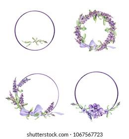 Watercolor set of wreaths of lavender. Spring illustration. Design for postcards, invitations, logos.