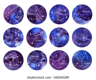 Watercolor set of zodiac signs. unisex. round zodiac symbols on watercolor texture. Aries. Taurus.  Gemini. Cancer.  Leo.  Virgo. Libra.  Scorpio.  Sagittarius.  Capricorn. Aquarius. Pisces.