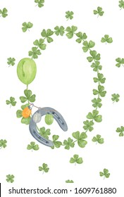 Watercolor shamrock leaves oval frame, symbol of Ireland and spring holiday, St Patrick's day, illustration for greeting cards, holiday decorations, simple seasonal ornament, floral arrangement
