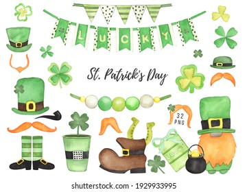 Watercolor Shamrock, Leprechaun Hats, Orange Mustache. St. Patrick's Day Party decor clipart