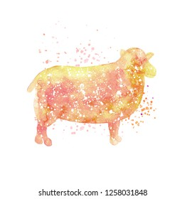 Watercolor sheep silhouette. Domestic animal illustration. Cute sheep print for nursery room