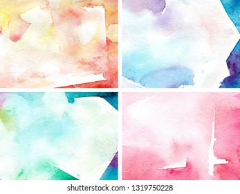Watercolor shimmer. Abstract colorful gradient. Watercolor cartoon background. Abstract watercolour gradient texture. Hand drawn background.
