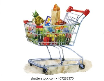 watercolor shopping cart