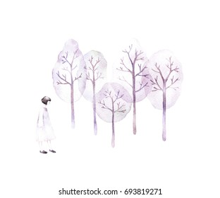 Watercolor silhouette of girl in forest in watercolor style.Follow your dream.