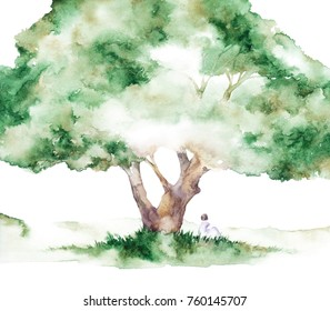 Watercolor silhouette of girl near the tree in watercolor style. Watercolor background. Colorful abstract texture. Follow your dream.